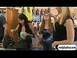 Girls show off tits in swim gear store for some money