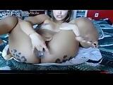 Hot Latina playing with dildo on webcam